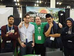At the openSUSE booth at SCaLE 16x